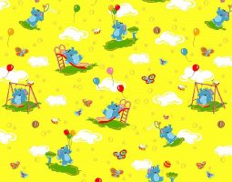 КПБ детский бязь стандарт Слоники на желтом