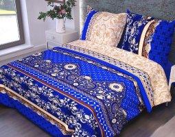 Комплект постельного белья 2сп бязь ГОСТ Русский орнамент синий