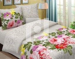 Комплект постельного белья евро из бязи Традиции текстиля  Льняная палитра