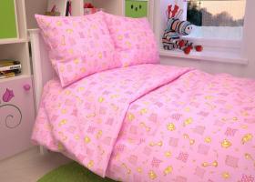 КПБ детский бязь стандарт Жирафики на розовом