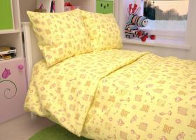 КПБ детский бязь стандарт Жирафики на желтом
