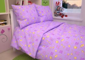 КПБ детский бязь ГОСТ Жирафики на фиолетовом