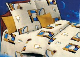 Комплект постельного белья 1,5сп бязь Стандарт Графика бежевая