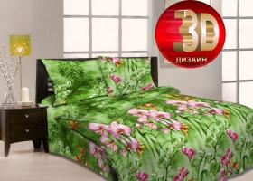 Комплект постельного белья Семейный из бязи ГОСТ Орхидеи в саду