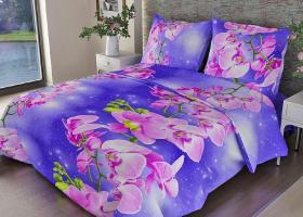 Комплект постельного белья 1,5сп бязь ГОСТ Орхидеи на фиолетовом