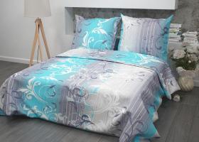 Комплект постельного белья 1,5сп бязь Стандарт Симфония голубая