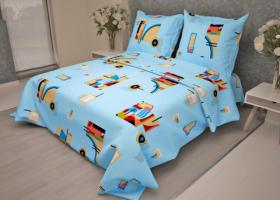 Комплект постельного белья 1,5сп бязь ГОСТ Графика на голубом