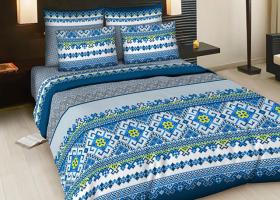Комплект постельного белья Семейный из бязи ГОСТ Народные узоры на голубом