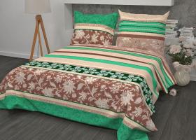 Комплект постельного белья семейный из бязи Стандарт Ажур зеленый