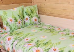 Комплект постельного белья 1,5сп бязь Стандарт Ромашки на зеленом
