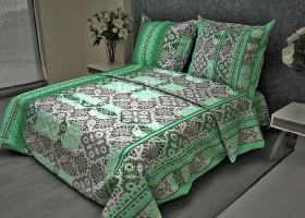 Комплект постельного белья 1,5сп бязь Стандарт Кружево зеленое
