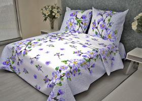 Комплект постельного белья 1,5сп бязь ГОСТ Сакура голубая