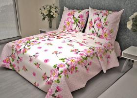 Комплект постельного белья 1,5сп бязь Стандарт Сакура розовая