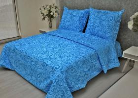 Комплект постельного белья 1,5сп бязь ГОСТ Узоры синие