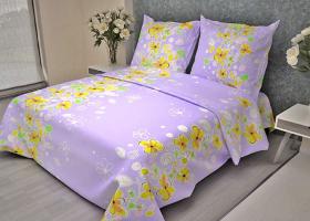 Комплект постельного белья 1,5сп бязь ГОСТ Летний дворик на сиреневом