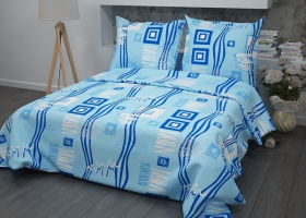 Постельное белье 1,5сп бязь пл 140 рис 348-1 Пикассо голубой с 1 наволочкой 70х70