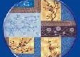 Бязь о/м пл 140 рис 388-3 багряная осень синяя
