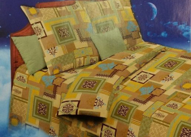 Комплект постельного белья 1,5сп бязь Стандарт Узоры востока бежевые