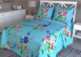 Комплект постельного белья 1,5сп бязь Стандарт Мадлен на голубом