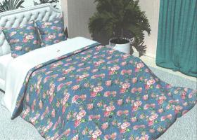 Комплект постельного белья евро из бязи Стандарт Розовый дуэт на голубом