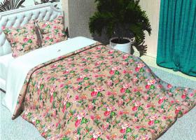 Комплект постельного белья 2сп бязь Стандарт Розовый дуэт на зеленом