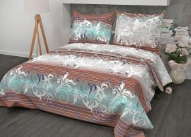 Комплект постельного белья евро из бязи Стандарт Симфония мятная