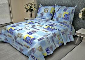 Комплект постельного белья 1,5сп бязь Стандарт Арабески ажурные голубые