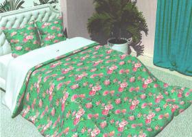 Комплект постельного белья семейный из бязи Стандарт Розовый дуэт на зеленом