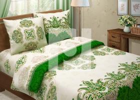 Комплект постельного белья семейный из бязи Традиции текстиля Королевский зеленый