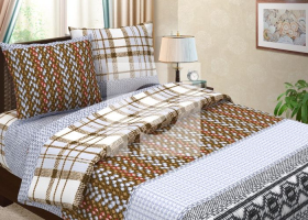 Комплект постельного белья евро из бязи Традиции текстиля  Уикенд