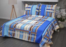 Комплект постельного белья 1,5сп бязь ГОСТ Клетка на синем