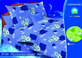 Бязь о/м пл 140 рис 433-1 Кружевные лилии голубые