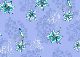 Бязь о/м пл 140 рис 568-6 кружевница с лилиями голубая
