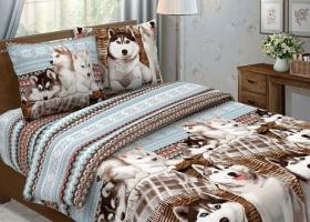 Комплект постельного белья евро из бязи Традиции текстиля Хаски