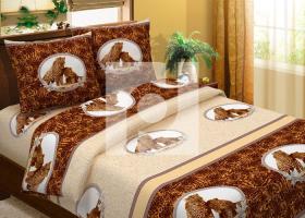 Комплект постельного белья семейный из бязи Традиции текстиля  Леопарды