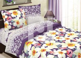 Комплект постельного белья семейный из бязи Традиции текстиля  Нарциссы
