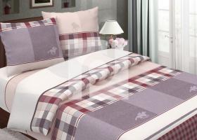 Комплект постельного белья семейный из бязи традиции текстиля Поло коричневый