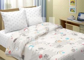 Комплект постельного белья 1,5сп бязь традиции текстиля Котики на сером