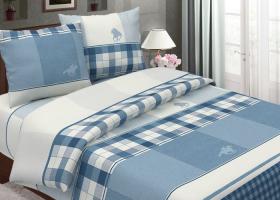 Комплект постельного белья 1,5сп бязь традиции текстиля Поло голубой
