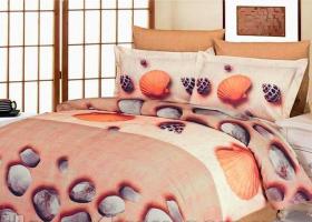 Комплект постельного белья семейный поплин Ракушки