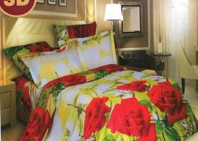 Комплект постельного белья евро из поплина Осенняя роза