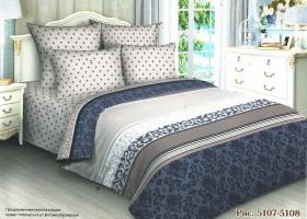 Комплект постельного белья семейный поплин Норра