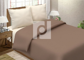 Комплект постельного белья евро поплин однотонный Латте
