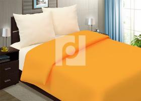 Комплект постельного белья семейный поплин однотонный Апельсиновый мусс