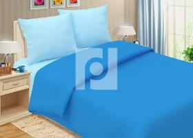Комплект постельного белья семейный поплин однотонный Лазурный берег