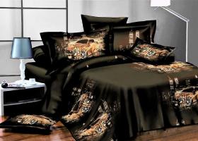 Комплект постельного белья семейный сатин 3D Мистический кар