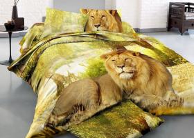 Комплект постельного белья семейный сатин 3D Царь зверей